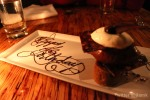 Dessert with happy birthday inscription