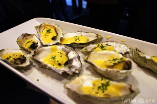Oysters with a warm hollandaise sauce