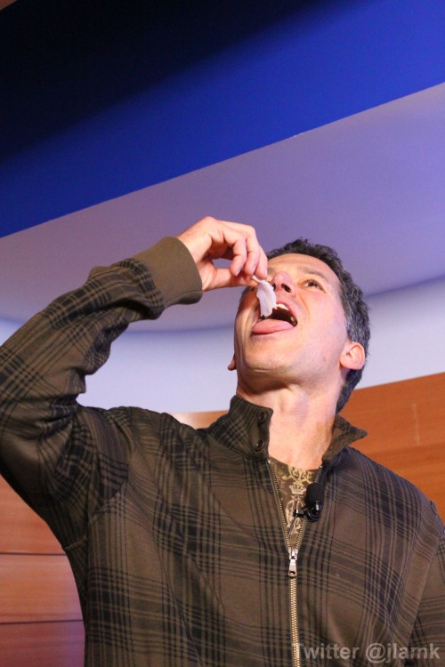 Bob Blumer tastes a slice of fresh geoduck
