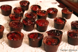 Chocolate Cup with Finger Fruit infused Chocolate Mousse and Finger Fruit Wine Jelly