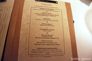 Cork & Fin's Dine Out menu