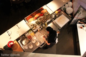 Bird's eye view of chef at work