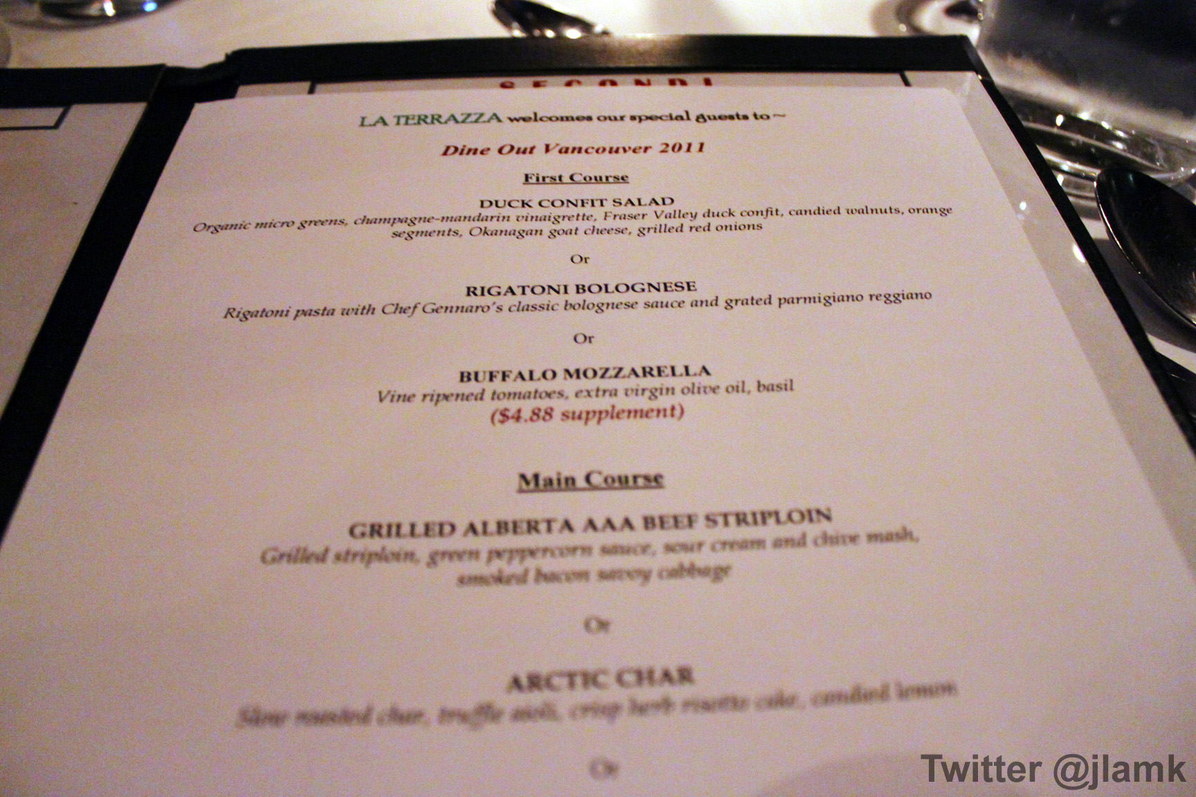 La Terrazza Dine Out Menu | VanFoodies.com