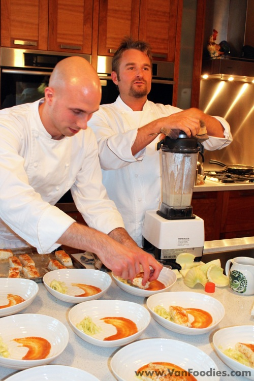 Chef Bell demonstrates throughout the evening