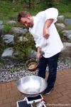 Chef Bell making sugar angel hair