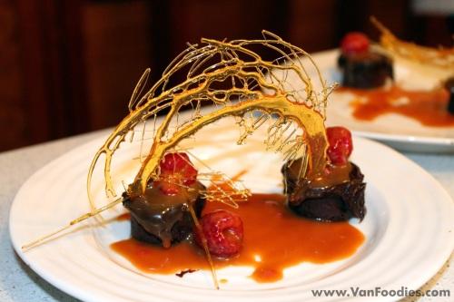 Dessert with sugar art decoration