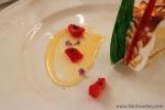 Glittery sauce on the dessert plate