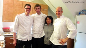 Chef Trevor Bird (right) and his helpers including Nick and Clark