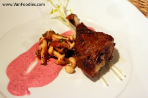 Duck Confit with Mushrooms and Beet Aioli