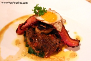 Timbale of Bison with Foie Gras, Bacon and Quail Egg