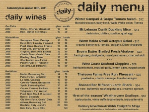 Kitislano Daily Kitchen's Daily Menu on Dec 10, 2011