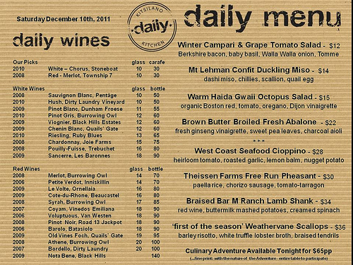 Kitislano Daily Kitchen's Daily Menu on Dec 10, 2011