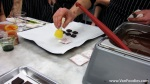 Stamp the transfer sheet onto the chocolate