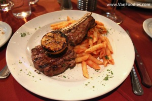 Grilled Veal Chop with Pasta