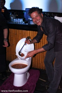 Bob serves us food out of a real-size toilet bowl!