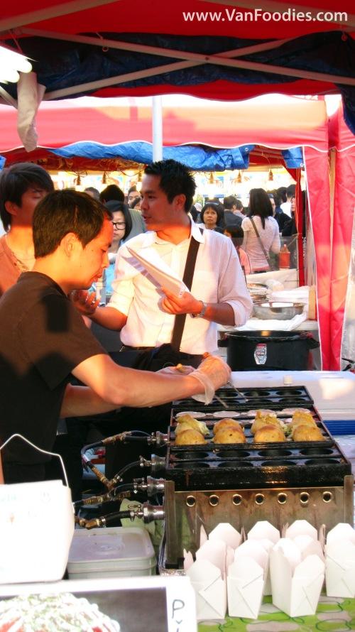 Making of giant takoyaki