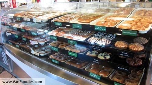 Display case of doughnuts