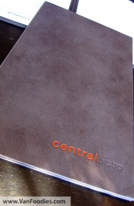 Central Bistro menu
