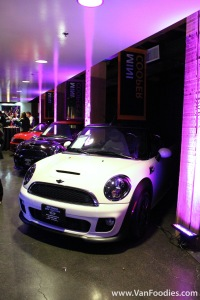 Mini Coopers on display