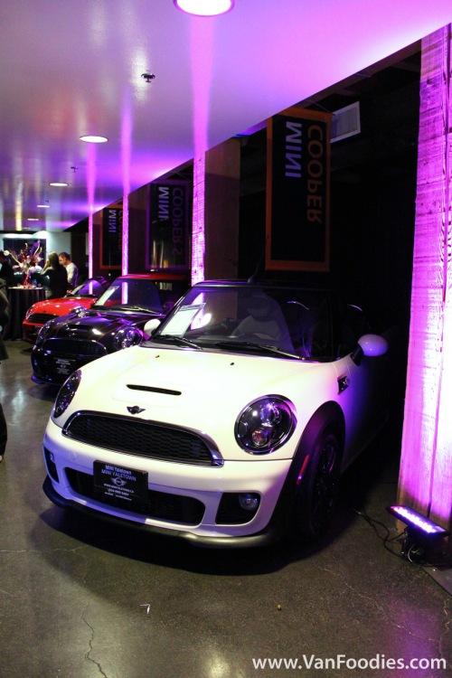 Mini Coopers on display