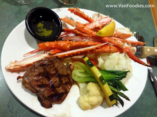 New York Steak with Crab Legs