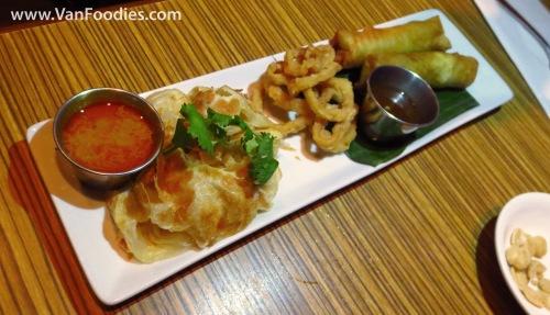 Roti, Calamari & Spring Rolls