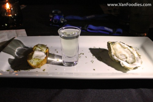 Raw Oyster with Pork Fat on Crouton; Horseradish Vodka