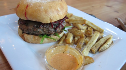 The Portland Craft Burger with some pickled beets.