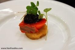 p2b bistro - Candied sockeye salmon, bannock & Saskatoon berry compote