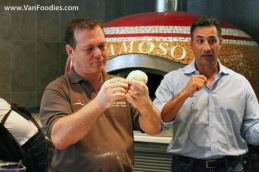 Roberto demonstrates on how to form the dough ball